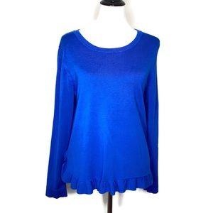 Adrianna Papell Peplum Ruffle Knit Top Blue Blouse
